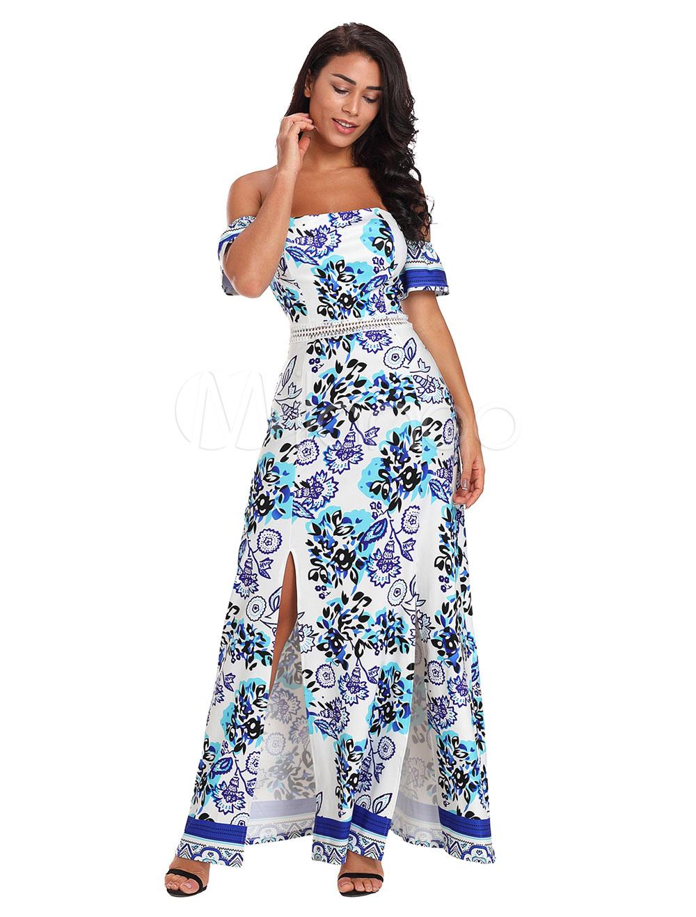 9ea4d1e5b White Maxi Dress Off The Shoulder Split Summer Dress Printed Bardot ...