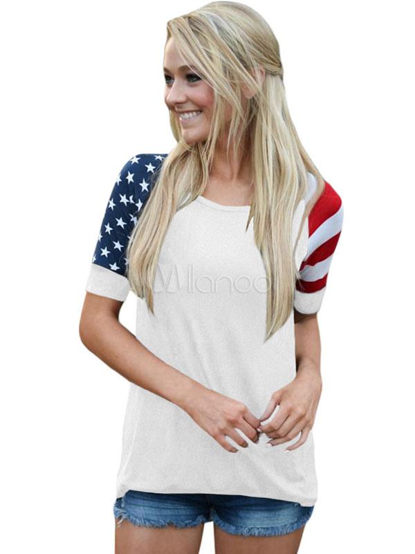 Women Casual T Shirt American Flag Short Sleeve Summer Top