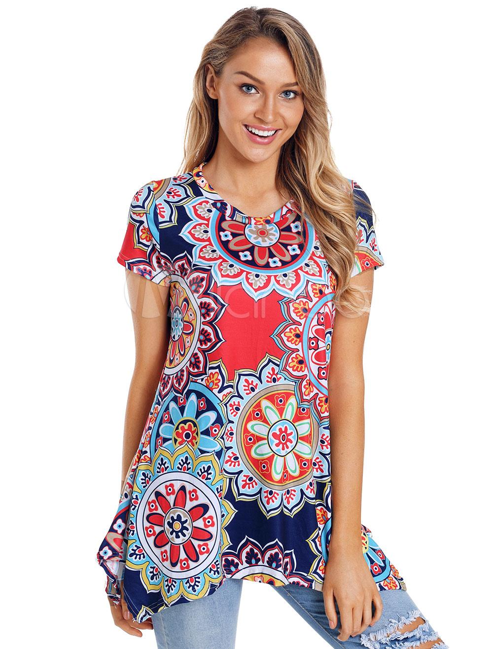 Women Printed T Shirt Short Sleeve Irregular Summer Top
