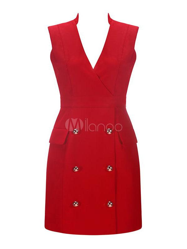 0d1c4ef31c2 ... Sexy Party Dress Red Tuxedo Dress V Neck Button Sleeveless Cocktail  Dress-No.4 ...