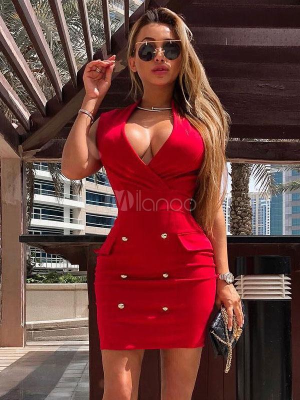 c32e52075cc ... Sexy Party Dress Red Tuxedo Dress V Neck Button Sleeveless Cocktail  Dress-No.2 ...