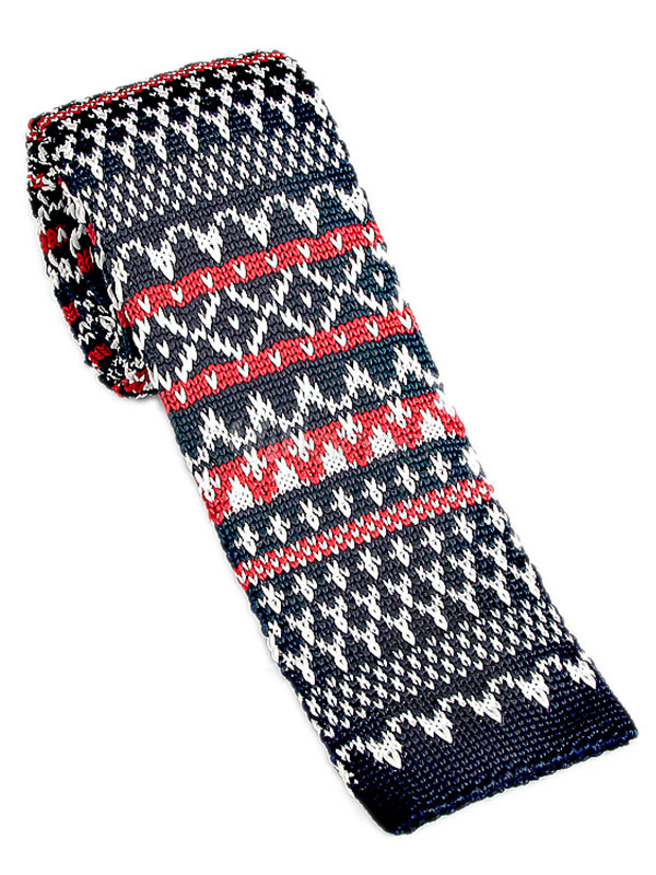 Men Knit Necktie Christmas Pattern Woven Casual Square Tie Milanoo