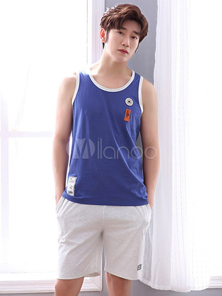 Buy Men Summer Pajama Cotton Tank Top With Shorts 2 Pieces Lounge Wear for $29.74 in Milanoo store