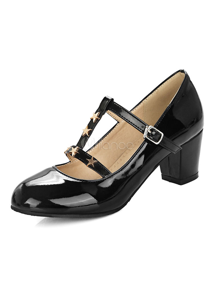 Buy Mary Jane Shoes Black Round Toe T Type Stars Detail Chunky Heel Pumps Women Shoes for $30.59 in Milanoo store