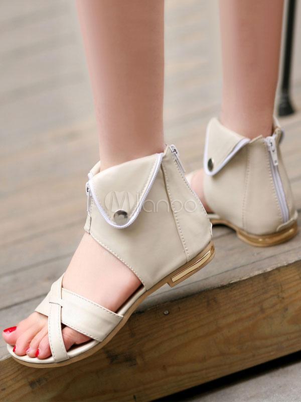 Femmes Summer Ouvertes Sandales Zip Blanches Plates Conçu Toe Up ymn0NOw8Pv
