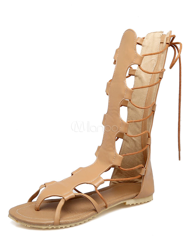 dd5d6185066 Women Gladiator Sandals Thong Cut Out Lace Up Sandal Shoes Brown Flat  Sandals-No.