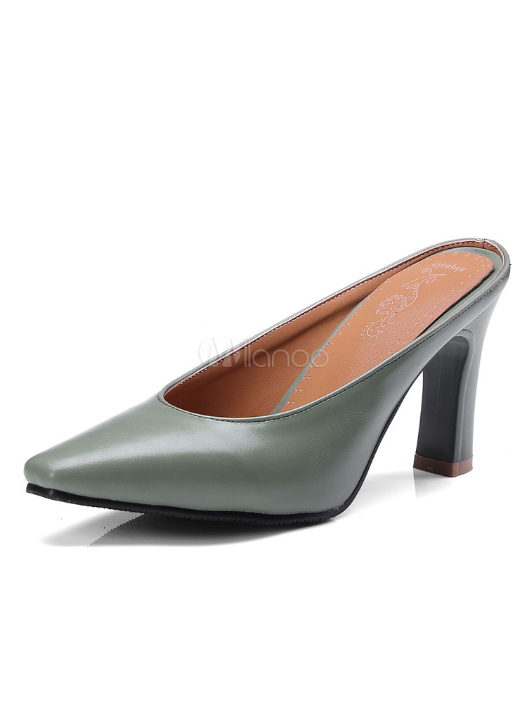 High Heel Mules Women Pointed Toe Slip On Backless Pumps