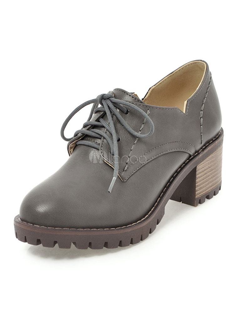 5f85744c2d8 Women Oxford Shoes Brown Round Toe Lace Up Chunky Heel Shoes Casual Shoes
