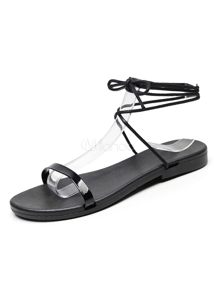 Mujer Zapatos Sandalias Con De Planas Negras Dorcwbxe mN80nw