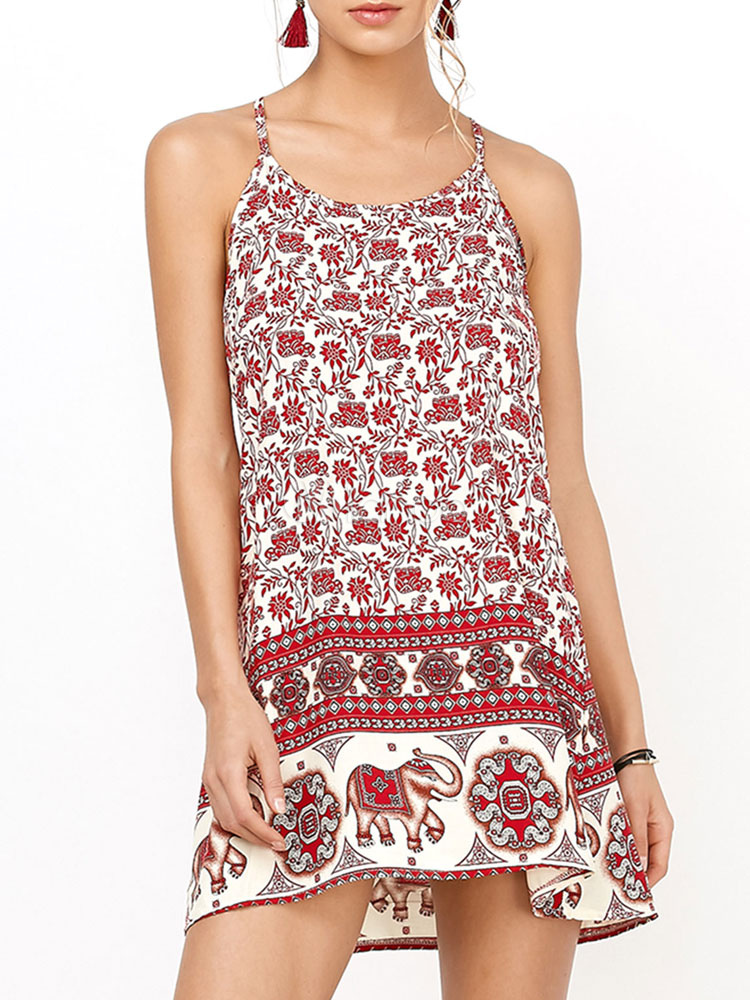 9c578c9b63d Summer Dresses 2019 Boho Sundress Elephant Print Slip Dress-No.1 ...