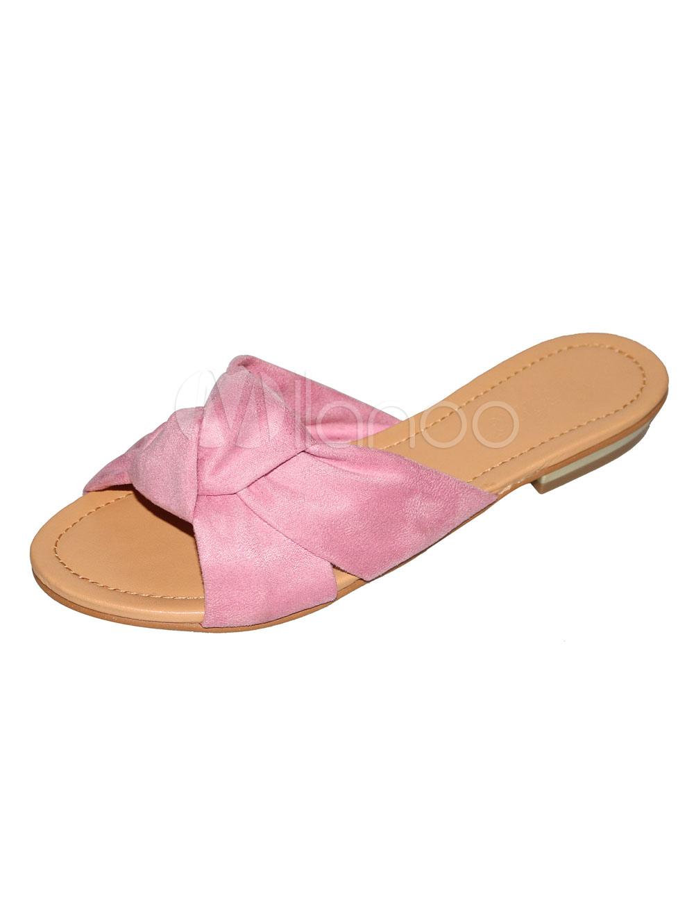 38978962b0c Women Slide Sandals Soft Pink Knotted Flat Sandals Terry Sandal ...