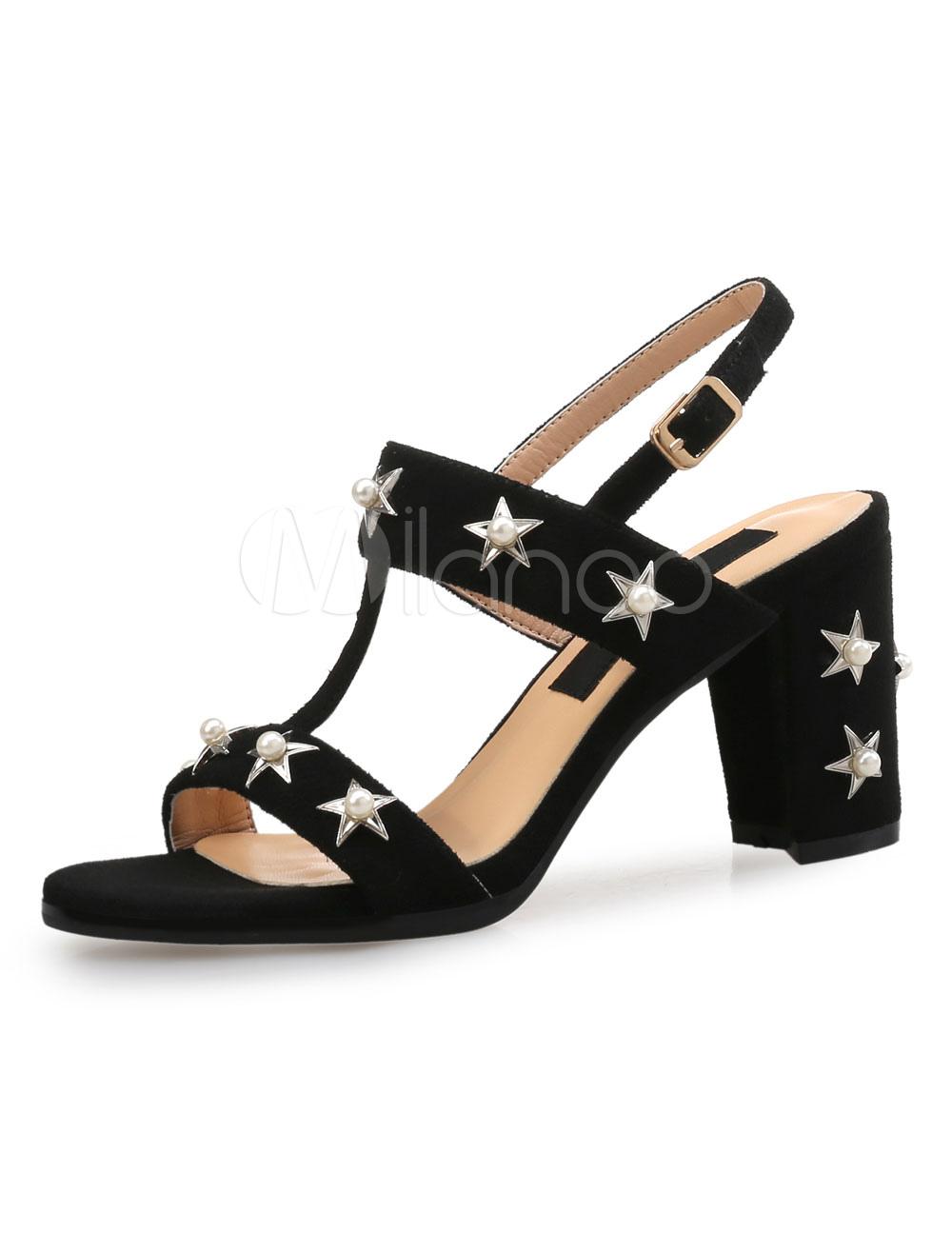 High Heel Sandals Suede Open Toe T Type Stars Pearls Detail Chunky Heel Sandals Women Shoes