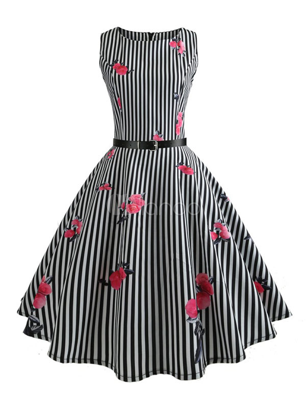 Buy Black Vintage Dress Sleeveless Striped Rose Print Belt Retro Swing Dress for $26.99 in Milanoo store