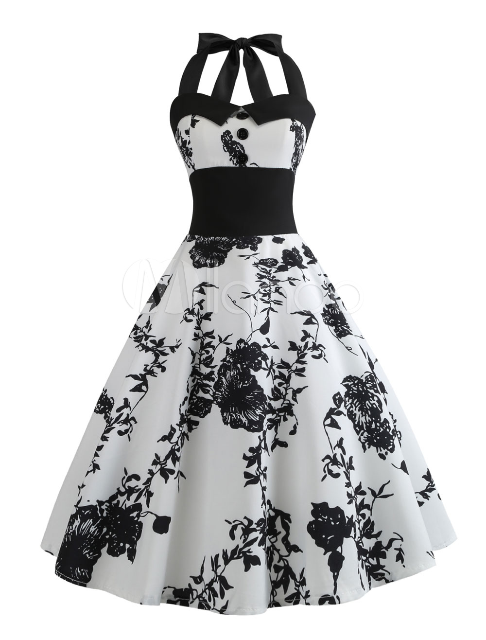 0a1b7e3751db White Vintage Dress 1950s Floral Swing Dress Halter Buttons Pin Up Summer  Dress-No. 1. 30%OFF. Color White