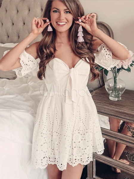 1ea952d1af88 White Summer Dress Cut Out Off The Shoulder Skater Dress - Milanoo.com