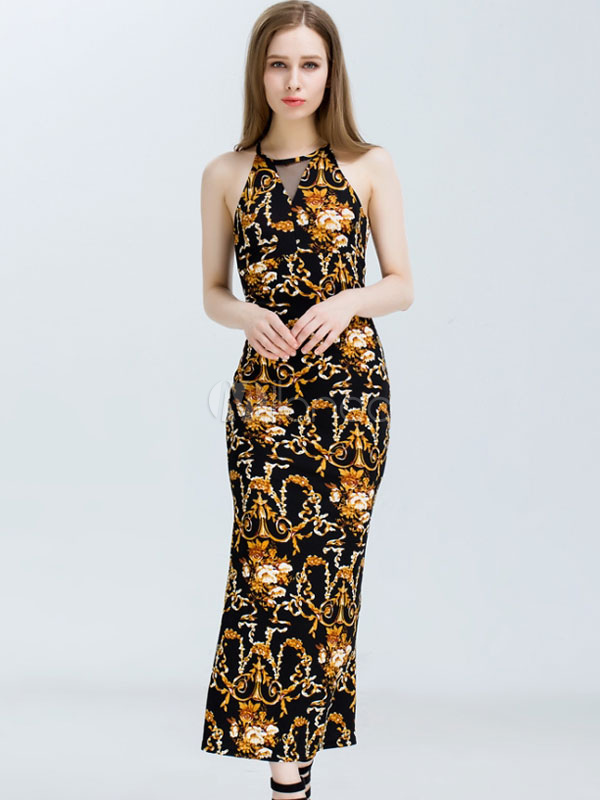 3720cee1463 Robe moulante noire sans manches bijou col fendue robe maxi-No.1 ...