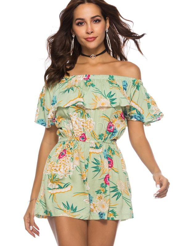 865d6f5db8b Women Floral Romper Off The Shoulder Green Tropical Playsuit-No.1 ...