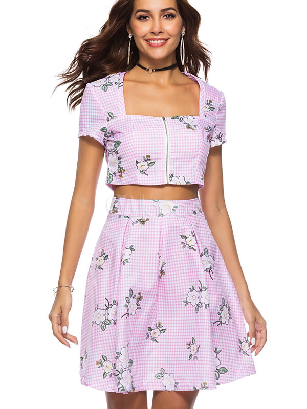 9694fda198 ... Women Two Piece Set Short Sleeve Square Neck Plaid Crop Top With Summer  Skirt-No ...