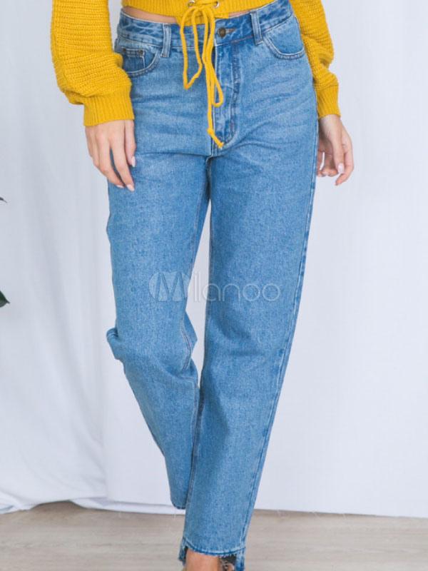 Buy Women Denim Jeans Straight Leg Light Blue Jeans for $22.49 in Milanoo store