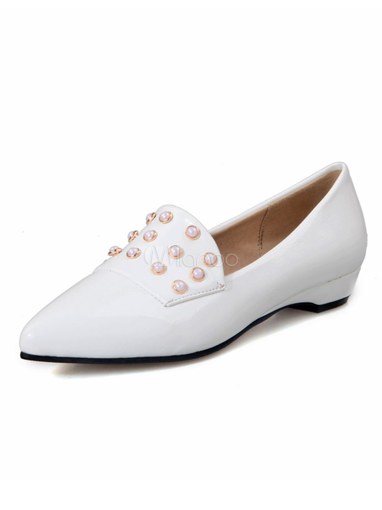 8dd1abf7813a2b White Ballet Flats Pointed Toe Pearls Slip On Flat Pumps For Women-No.1 ...