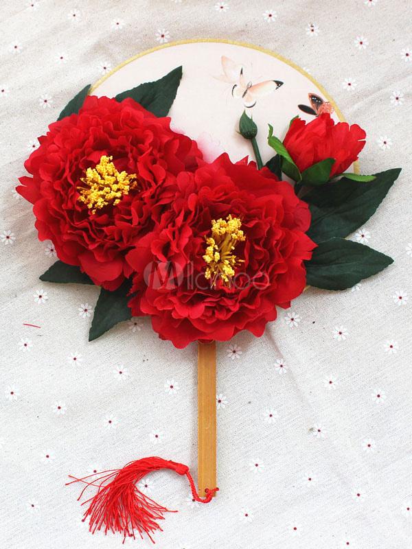 Hochzeit Bouquet Red Chinesischen Stil Brautstrauß Zubehör Hochzeit Bevorzugungen Seide Fan Party Geschenk