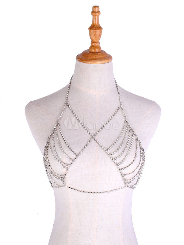 ae91c53cb56902 Body Chain Jewelry Silver Rhinestone Bralette Sexy Bikini Jewelry-No.1 ...