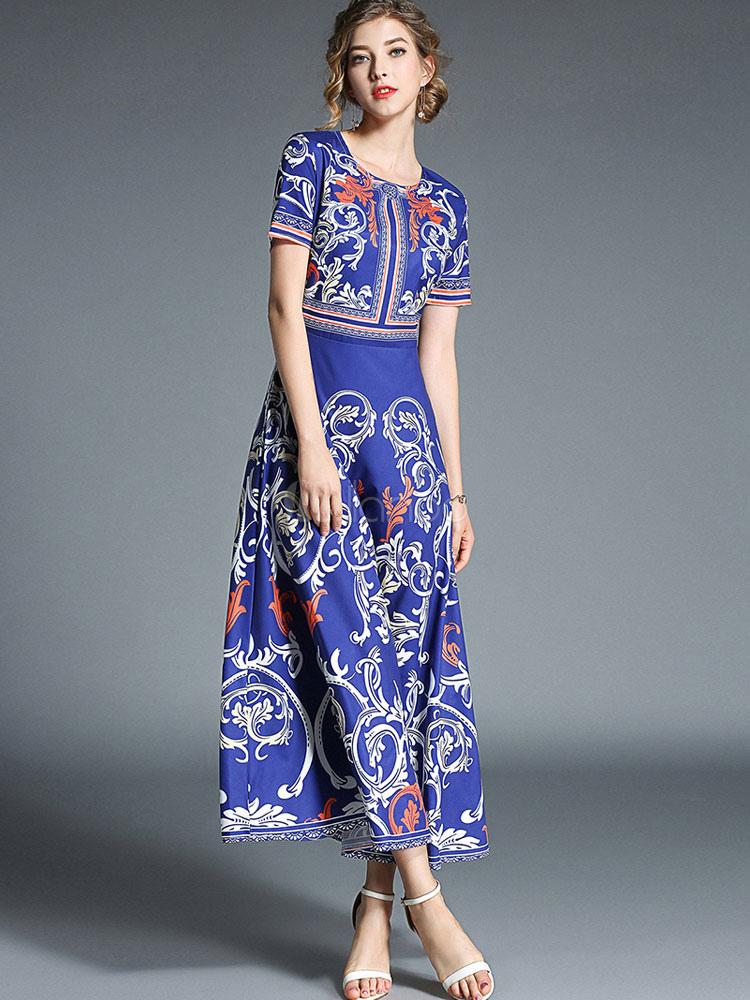 4a2e0a232 فستان ماكسي أزرق قصير كم فستان ريترو مطبوع - Milanoo.com