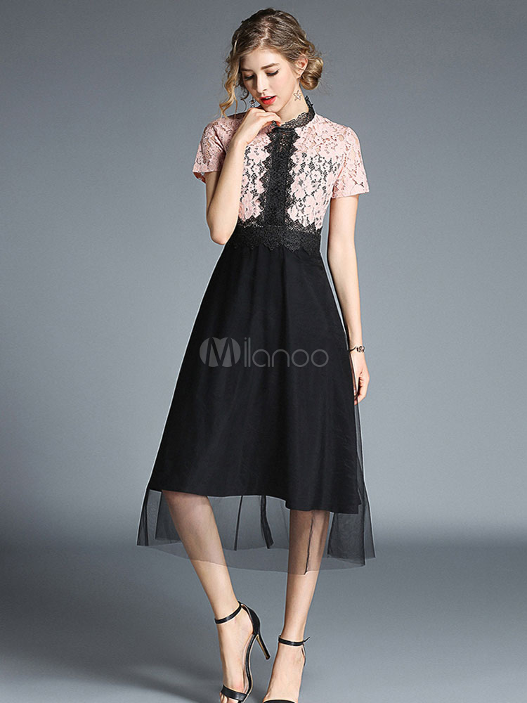 Buy Chiffon Skater Dress Short Sleeve Stand Collar Lace Two Tone Summer Dress for $40.49 in Milanoo store
