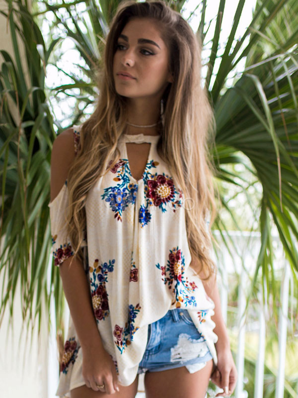 Buy Women Floral Blouses White Short Sleeve Cut Out Cold Shoulder Chiffon Top for $22.94 in Milanoo store