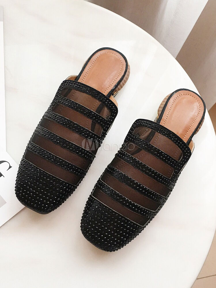 Buy Women Mule Shoes Mesh Square Toe Rhinestones Backless Loafers Black Mules for $33.29 in Milanoo store