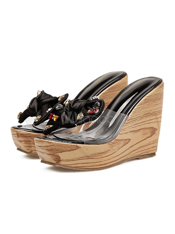Pie Del Sin De Arco Mujer Cuña Sandalias Negro Zapatos Dedo Respaldo Abierto Pedrería Plataforma ulTF13KJc