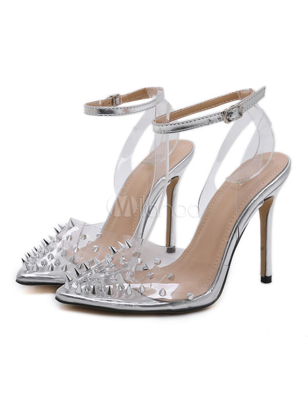 48dec630937 Silver High Heels Pointed Toe Rivets Ankle Strap Pumps Women Stiletto Heel  Clear Shoes-No ...