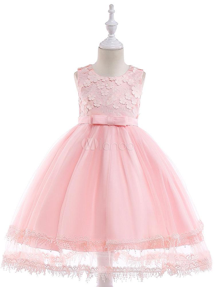 Vestidos de niña de las flores de encaje arcos vestido rosa suave ...