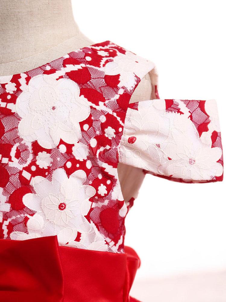 Vestidos de niña de las flores rojas de encaje Arcos vestido de ...