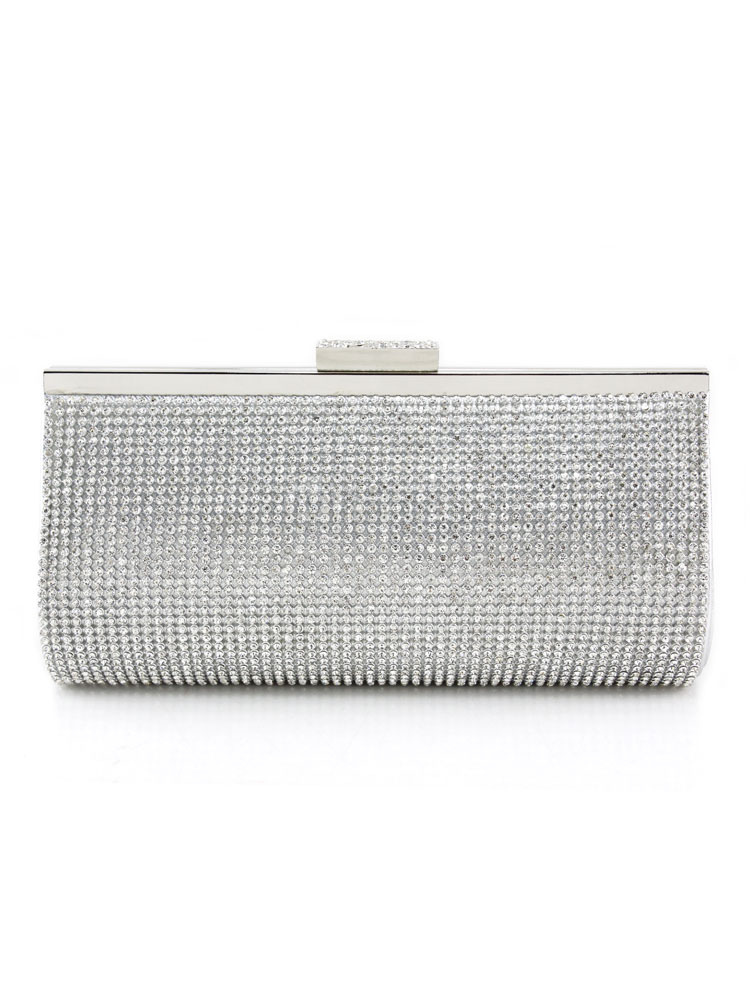 Buy Silver Evening Clutch Bags Rhinestones Faux Leather Wedding Bridal Handbags for $27.89 in Milanoo store