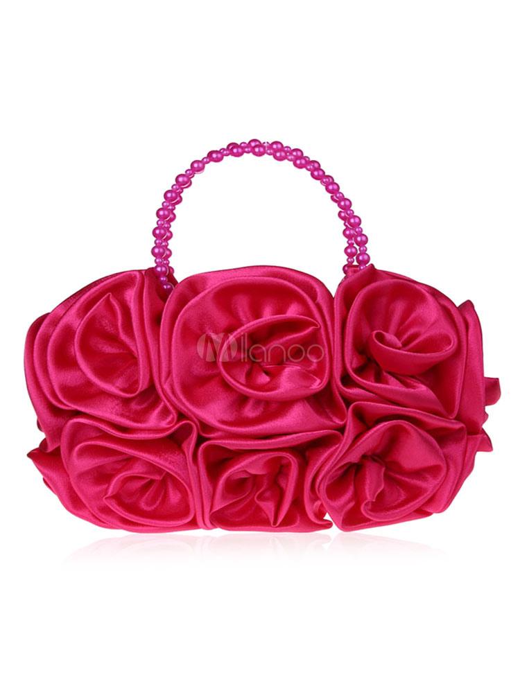 Flower Wedding Clutch Bag Rose Satin Bridal Purse Party Evening Handbags-No.1  ...