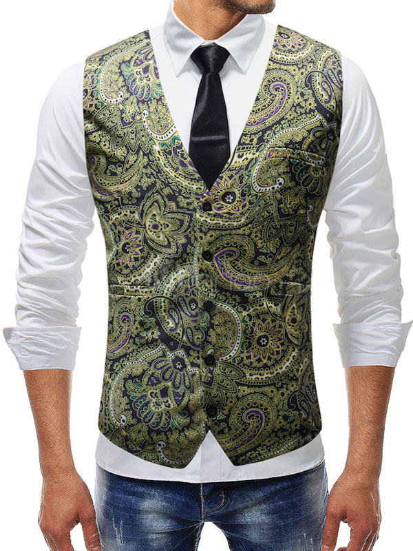 Buy Men Suit Vest Print V Neck Pocket Front Button Slim Fit Waistcoat for $23.79 in Milanoo store