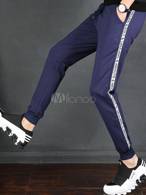 Buy Men Jogger Pant Plus Size Letter Print Cotton Pant Tapered Fit Cropped Pant for $25.49 in Milanoo store