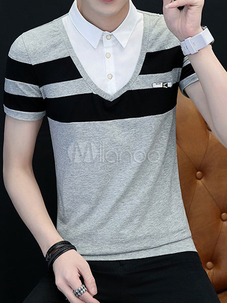 Buy Cotton Polo Shirt Stripe Fake 2 Piece Short Sleeve T Shirt Casual for $21.24 in Milanoo store
