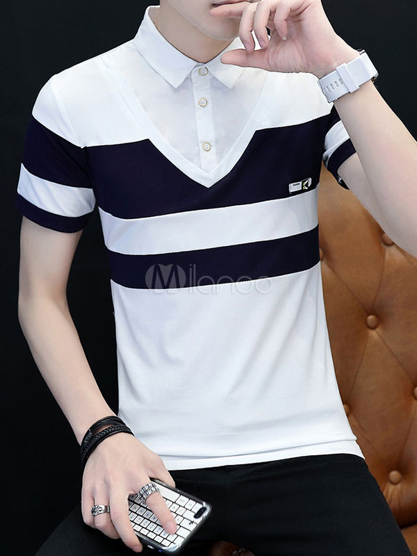 Buy Men Polo Shirt Stripe Cotton Fake 2 Piece Regular Fit Short Sleeve T Shirt for $21.24 in Milanoo store
