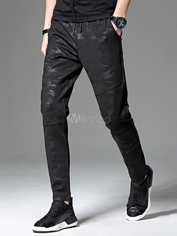 Buy Black Jogger Pant Camo Pattern Plus Size Cotton Pant Men Tapered Track Pant for $29.74 in Milanoo store