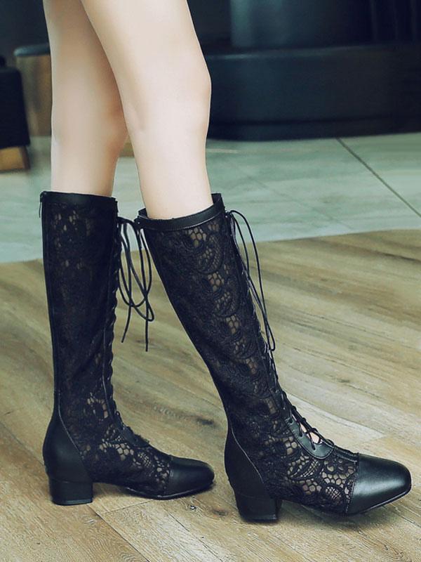 Women Wide Calf Boots Lace Square Toe