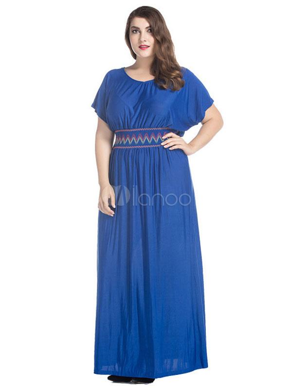 Plus Size Maxi Dress Short Sleeve Solid Color Summer Dress