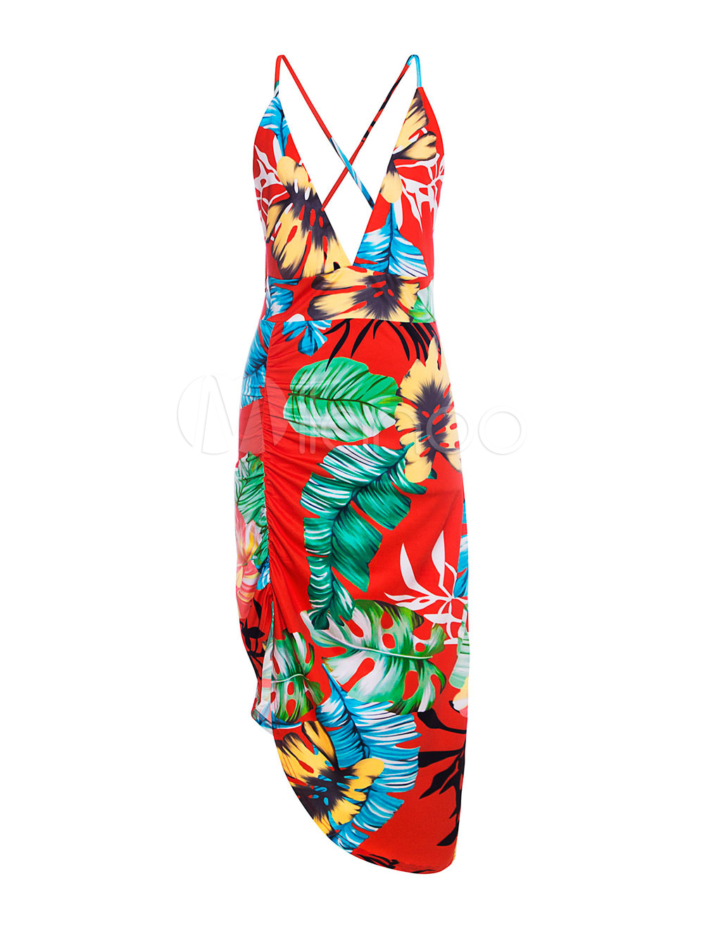 Buy Floral Bodycon Dress Plunge Neck Ruched Asymmetrical Summer Dress for $9.89 in Milanoo store