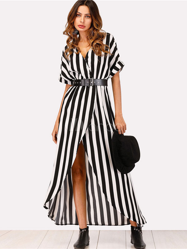 3f83c457e Black Maxi Dress Striped V Neck Short Sleeve High Low Chiffon Summer  Dress-No.