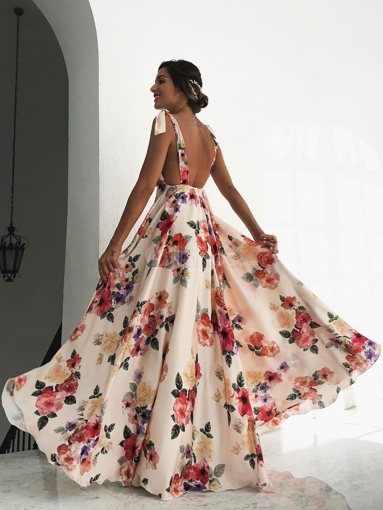 Floral Maxi Dress White V Neck Backless Chiffon Boho