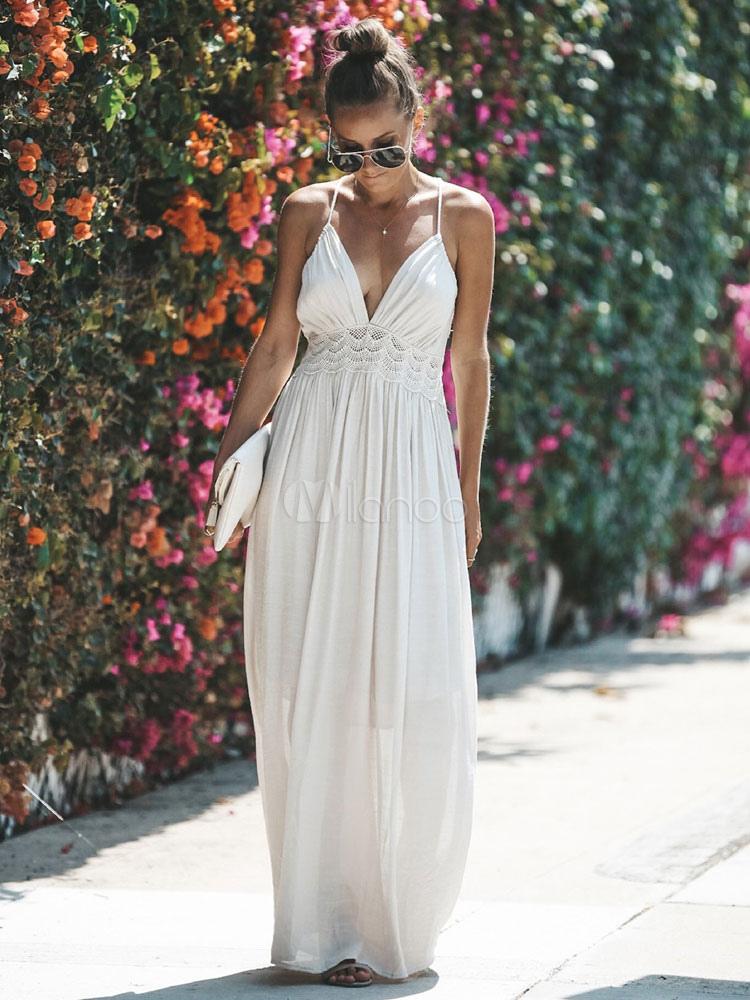 sélection premium acheter pas cher nouvelle collection Robe Longue d'été 2019 Dentelle Dos Nu Col V Robe de Fête Longue Femmes