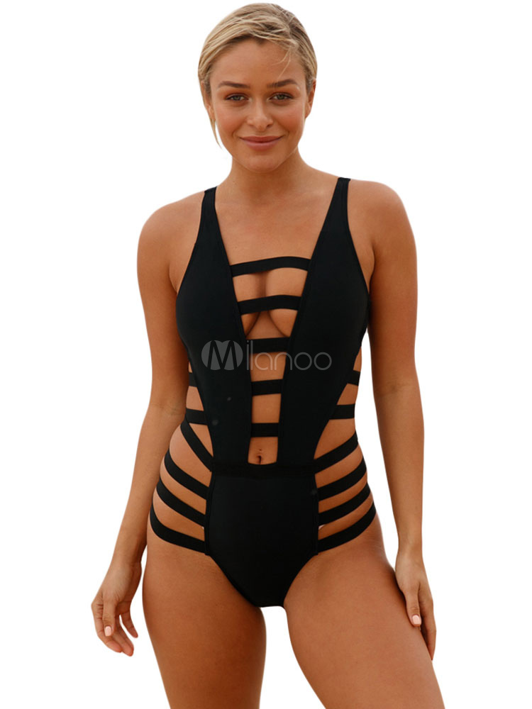 a7586f9df0 Black Bandage Swimsuit Sexy Cage Cut Out One Piece Bathing Suit For  Women-No.