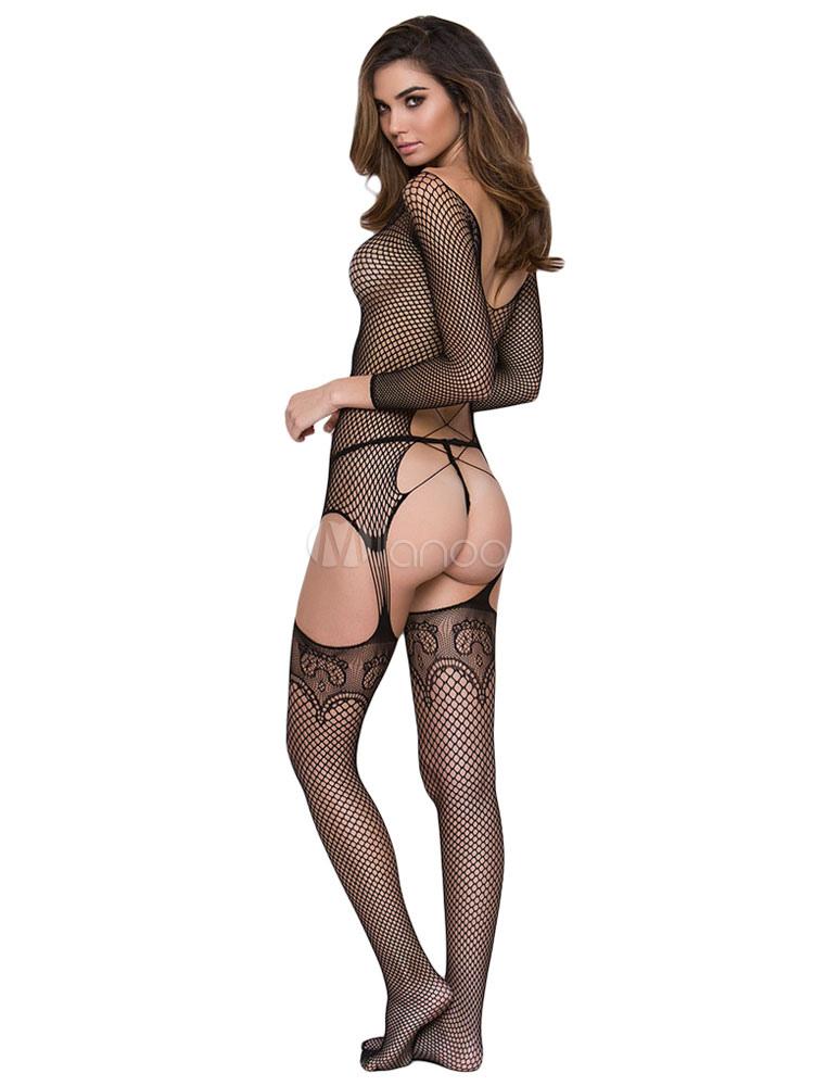 promo code 9b475 d6884 Frauen schwarz Bodystocking Netze ausgeschnitten Sexy Dessous