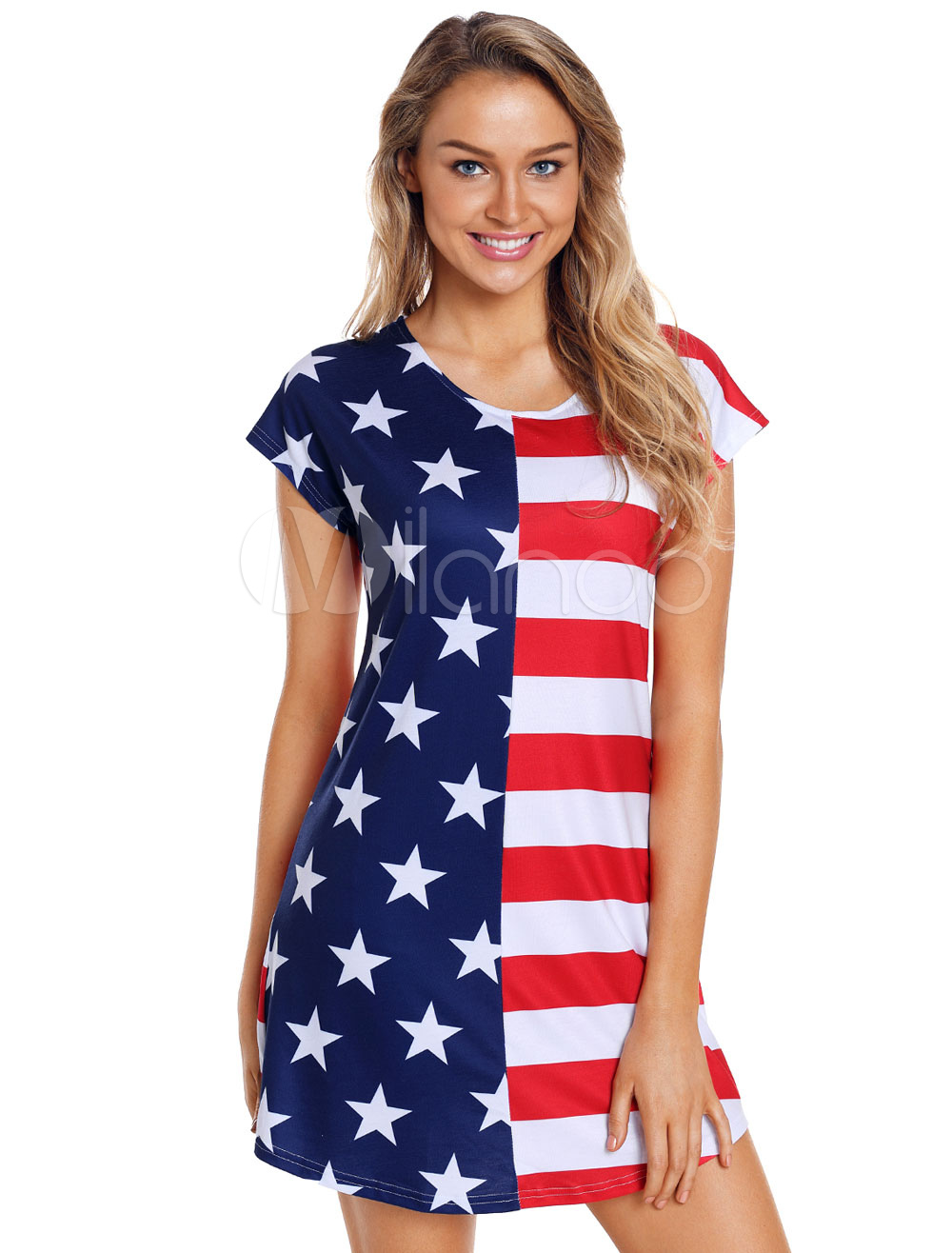 Women T Shirt Dress American Flag Short Sleeve Summer Dress 2019